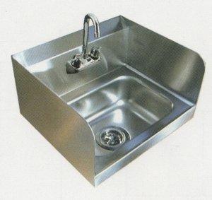 画像1: 18-8手洗いシンク(3方はね防止ガード付)